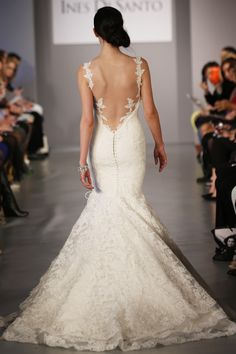 Ines Di Santo - Bridal Spring 2014 TAGS:Embroidered, Fishtail, Floor-length, Pattern, White, Ines DiSanto, Lace, Dramatic, Glamour