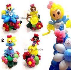 Belle, snowhite and Cinderella balloon characters #belle #beauty and the beast #snowhite #cinderella #princess #balloon #character #art #sculpture #twist