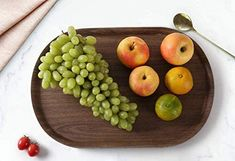 Wood Fiber Set of 3 Units Serving Tray Breakfast Lunch Dinner Food Compliant Serving Trays With Handles, Serving Tray Wood, Wood Tray, Serving Platters, Wood Cutting, Cutting Board, Personalized Cheese Board, Meat Fruit, Breakfast Lunch Dinner