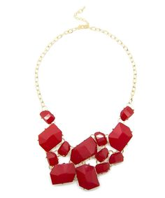 $12.00 Jelly Bean Statement Necklace in Red #shoplately