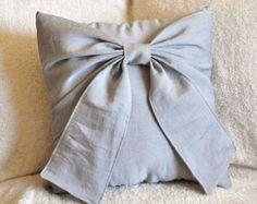 Bow gris oreiller décoratif Throw Bow 14 x 14 oreiller
