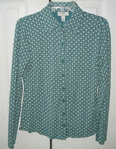 Womens Button down Shirt Top ANN TAYLOR LOFT Blouse Teal Green Stretch Size S  $16.75