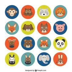 Variety of Animal Avatars Free Vector Variety of animal avatars Free vector. More Free Vector Graphics, Cartoon Sea Animals, Jungle Animals, Cupcake Toppers Free, Printable Animals, Vintage Typography, Vintage Logos, Bottle Cap Crafts, Free Cartoons, Retro Logos