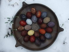 Do not run away, dear reader! (Or hop, if we're going with the holiday theme.) Making organic Easter egg dyes takes a little work but is well worth the effort. The colors come out more earthy and mellow than your standard dye-tablet ones. It's extra great because you can use things in the fridge or