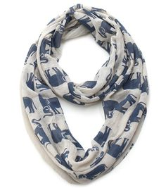 Tiny Elephants Printed Light Weight Cotton Infinity - Navy and Beige