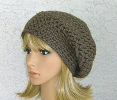 Taupe Chunky crochet Slouch hat CrochetHatsForYou