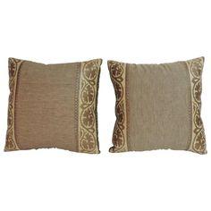 Pair of Antique Textile Arts & Crafts Linen Pillows