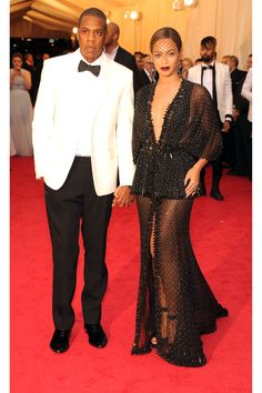 Jay-Z and Beyonce Knowles looking great in Givenchy Haute Couture at the Met Gala 2014.