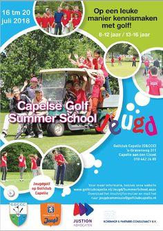 Capelse Golf Summer School  In de eerste week van de zomervakantie (van 16 tot en met 20 juli 2018) organiseert Golfclub Capelle al weer de 12e Golf Summer School voor kinderen van 6-16 jaar. Kinderen kunnen hier op een leuke en actieve manier kennis maken met de golfsport. Summer School, Golf, Wave, Polo Neck