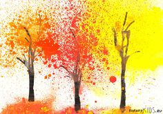 Autumn Trees, great opportunity for kids to try some new painting techniques (blowing paint through straws and splatter painting)