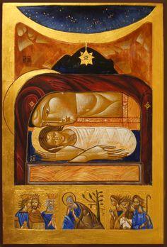 Icon Christmass- Icon painted from Lubov Yatskiv tracing. / Ikona Bożego Narodzenia wg wzoru Lubov Yatskiv