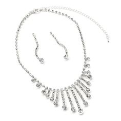Silver Crystal Rhinestone Bridal Wedding Party 1 Strand Dangle Earrings & Long Multi String with Rhinestone Tip Necklace Jewelry Set