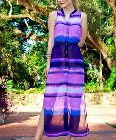 Another great find on #zulily! Purple & Navy Stripe Button-Up Maxi Dress #zulilyfinds