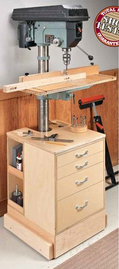 Builds up to 16000 Carpentry Projects - Drill Press Upgrade. Woodworking Tools Safety Tips Click photo to assess more information. Builds up to 16000 Carpentry Projects - Get A Lifetime Of Project Ideas and Inspiration! Woodworking Shop Layout, Woodworking Workshop, Woodworking Jigs, Woodworking Furniture, Woodworking Techniques, Woodworking Basics, Woodworking Equipment, Custom Woodworking, Workshop Design