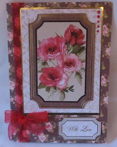 Dens Crafty Diary: February 2013. Card made using Kanban's Vintage Tapestry paper craft collection for floral / female cards.