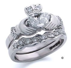 Claddagh Diamond Wedding Rings