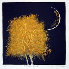 TANAKA Yoshikazu 2007 Tree and Moon in the Ancient City II Yellow IMG_4479 by JennWarburt, via Flickr