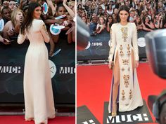 MMVAs Why is Kendall Jenner's daring slit-to-there dress such a big deal? Pretty Dresses, Beautiful Dresses, Amazing Dresses, Cfda Awards, Long Sleeve Gown, Kendall And Kylie Jenner, Old Models, Red Carpet Looks, Catwalk