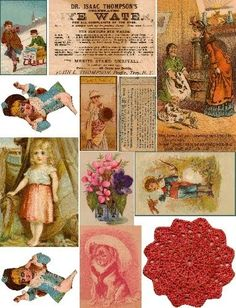 Free Collage Sheets by Art and imagesbykim: Vintage Scraps Digital Collage Sheet