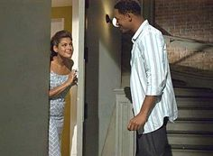 Recently watched Hitch and loved the blue and white cobblestone print dress Eva Mendes wears in the end