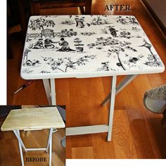 I'm not cray about the design, but I would love to do this with my rinky dink tv trays!