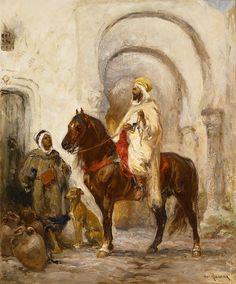Henri Emilien Rousseau (1875-1933) Caïd à cheval Huile sur toile signée en bas à droite 55 x 46 cm   - Galerie Ary Jan