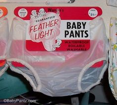 Clear, see-through rubber pants! I remember changing these in the early babysitting! You could see the diaper pins through them, and what baby did in his or her pants before you changed them! Pvc Hose, Used Cloth Diapers, Latex Babe, Plastic Babies, Diaper Pail, Bed Wetting, Plastic Pants, Disposable Diapers, Baby Pants