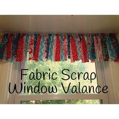 Fabric scrap valance in my kitchen. Scrap Fabric Projects, Fabric Crafts, Sewing Projects, Diy Projects, Diy Crafts, My Sewing Room, Toy Rooms, Fabric Strips, Girl Room