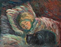 Girl with cat, Nikolai Tarkhov. Russian (1871 - 1930)