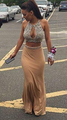 Champagne chiffon rhinestone prom dresses,two pieces sexy long dress Prom Dresses Two Piece, Unique Prom Dresses, Prom Dresses 2017, Mermaid Prom Dresses, Cheap Dresses, Prom Gowns, Gown 2017, Dresses Uk, Party Dresses