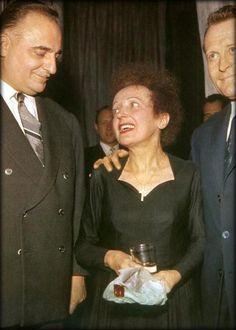 Olympia 1961.Edith Piaf avec Bruno Coquatrix et Lucien Vaimber