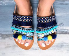 Bohemian sandals Veronica Greek leather by PinkyPromiseAccs
