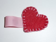 Red and Pink Felt Heart Hair Clip