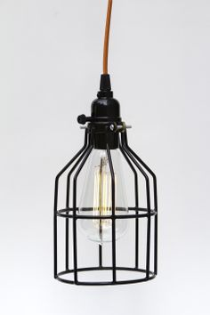Industrial Swag Cage Bulb Hanging Pendant Light With Black Phenolic Socket - Pick Your Color