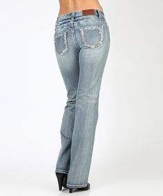 Look what I found on #zulily! Light Stone Wash Distressed Bootcut Jeans #zulilyfinds