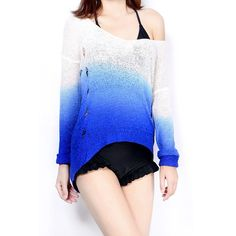 Edgy Sexy Fashion Ripped Gradient Color Tunic Shirt Top Blouse