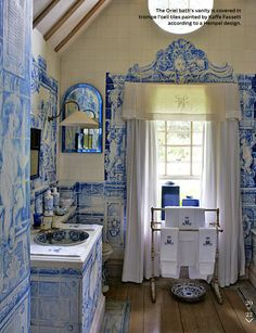 Room of the Day: Anouska Hempel ~ wall tiles from 1700's Dutch tile - bath vanity in trompe l'oeil tiles painted by Kaffe Fassett in her London home 4.13.13