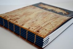 Nice binding by Kate over her own handmade covers. Coptic bound feather & woodgrain print guest book/ by katehust.