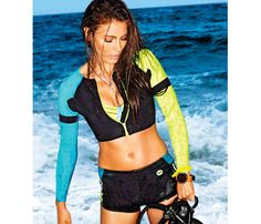 Scuba-Inspired Suits: Neoprene, thicker than swimsuit material, adds a little extra something-something to curves. Short-shorts help enhance, too. #SELFmagazine