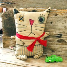 Primitive RAG doll Cat Bob by littleblackcrow on Etsy, $55.00