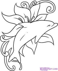 Outline Flower And Dolphin Tattoos Design