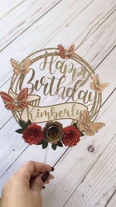 Diy Cake Topper, Birthday Cake Toppers, Cake Topper Tutorial, Cricut Cake, Custom Cupcakes, Butterfly Cakes, Paper Flowers Diy, Floral Cake, Cricut Creations