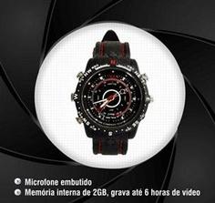 Relógio Espião Esportivo 2GB - Novy - SH PREÇO DE RELÓGIO COMUM EM UM ACESSÓRIO INCRÍVEL! Grave vídeos com áudio discretamente. Bonito, com design moderno e funcional. Micro Câmera integrada!