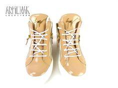 Collection Giuseppe Zanotti: Za Sneaker Semelle Blanche en cuir et vernis rose