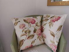 Two handmade Laura Ashley cushions in hydrangea by AvonwickStyle