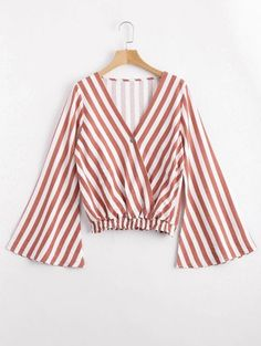 SHARE & Get it FREE | One Button Flare Sleeve Striped Blouse - Stripe XlFor Fashion Lovers only:80,000+ Items • New Arrivals Daily Join Zaful: Get YOUR $50 NOW!