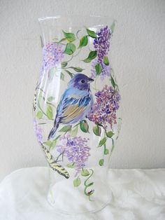 hurricane candle holder with bluebird by TivoliGardens on Etsy