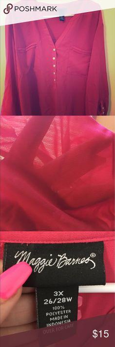 Sheer blouse Sheer pink blouse maggie barnes Tops Blouses