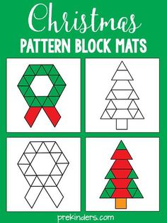 These Christmas pattern block mats are a fun way for kids to learn while they play. Pattern blocks teach children about shapes and geometry, as well as develop their visual discrimination skills. More free printable pattern block mats Noel Christmas, Christmas Themes, Christmas Maths, Christmas Worksheets, Kindergarten Christmas, Preschool Math, Kindergarten Activities, Christmas Pattern Block Mats, Theme Noel