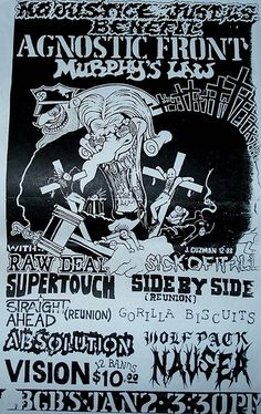 Agnostic Front, Murphy's Law, Sick of it All, Gorilla Biscuits, Supertouch, Raw Deal punk hardcore flyer